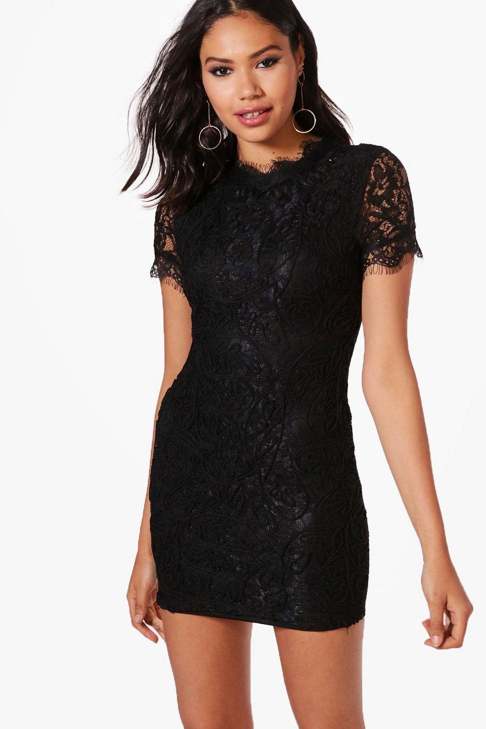 204f798d3541 Boutique Eyelash Lace Bodycon Dress | Boohoo