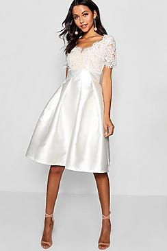1950s Style Wedding Dresses Boutique Fay Eyelash Lace Skater Dress white $60.00 AT vintagedancer.com