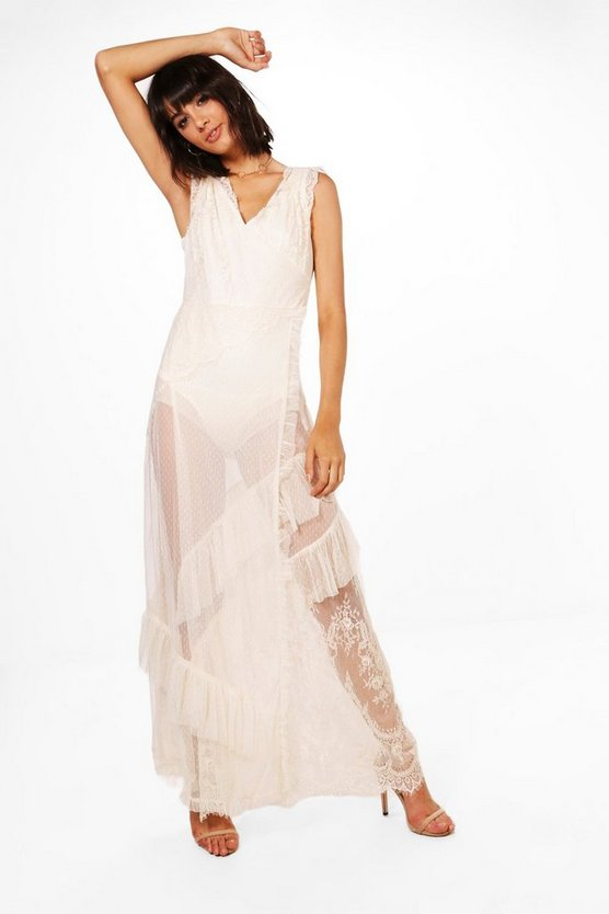 Boutique Eyelash Lace Tiered Maxi Dress