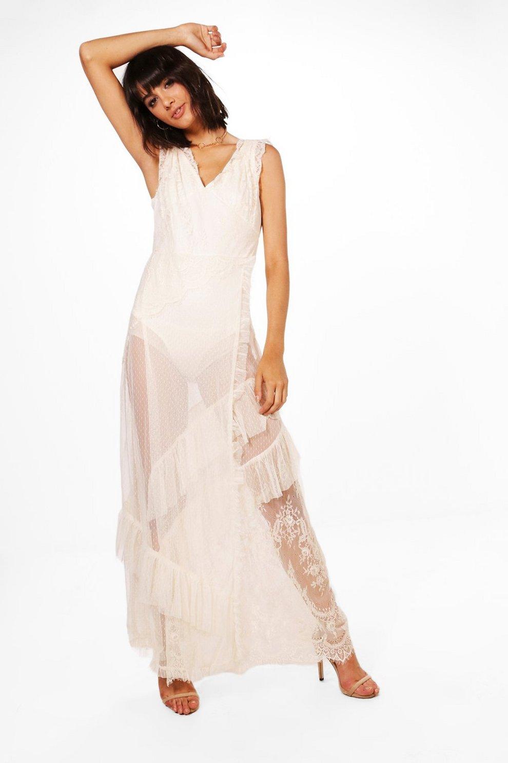 8fcf3bacd2fc Boutique Eyelash Lace Tiered Maxi Dress | Boohoo