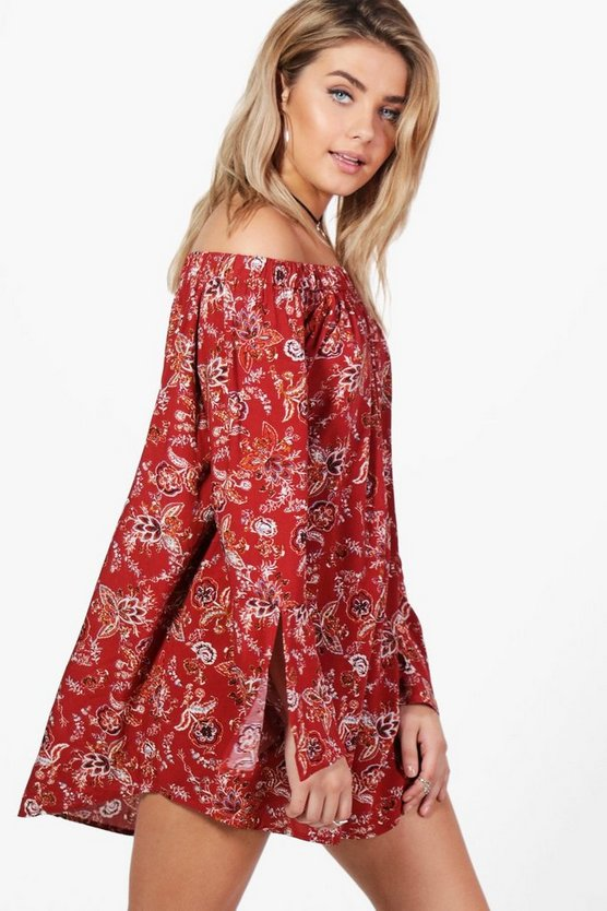 Marie Off The Shoulder Flute Sleeve Shift Dress