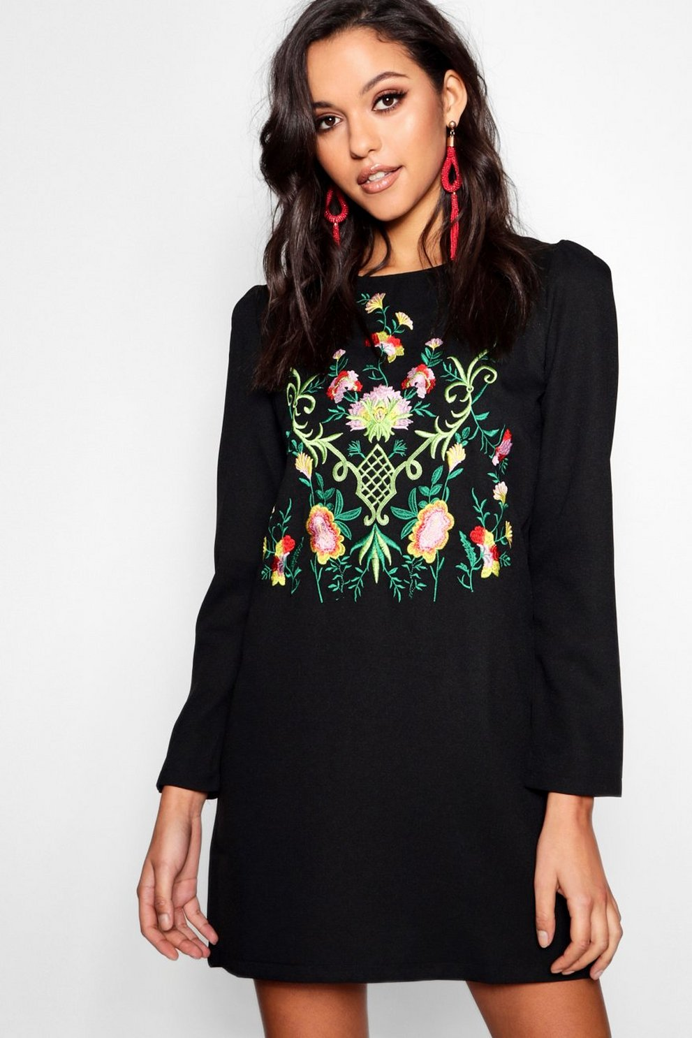 3bb0fae9563 Embroidered Long Sleeve Shift Dress
