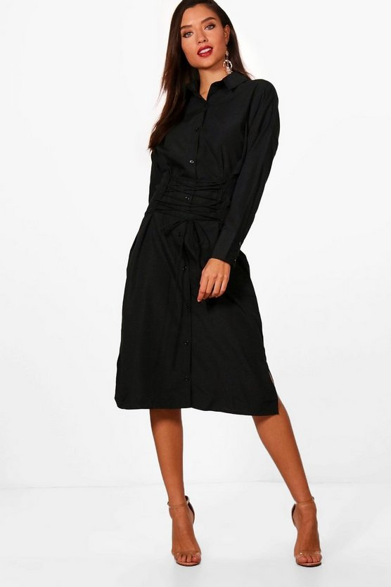 Corset Lace Up Waist Midi Shirt Dress