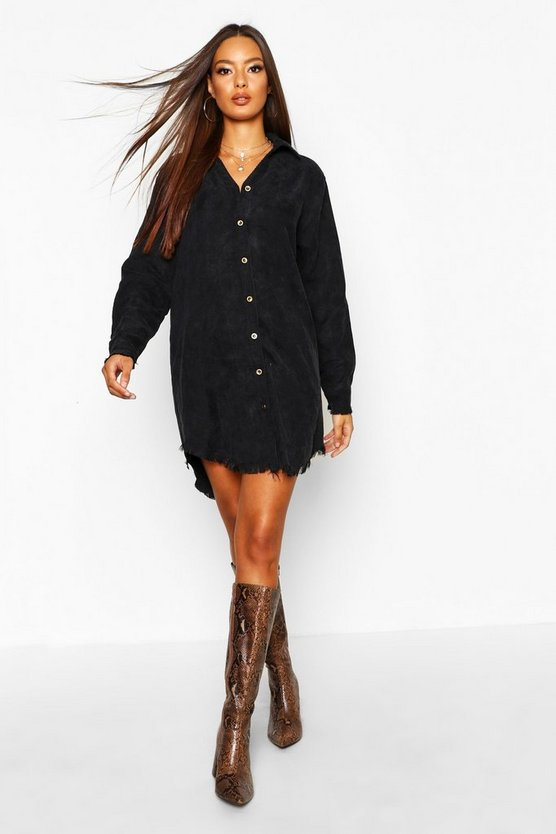 Womens Black Distressed Baby Cord Shirt Dress