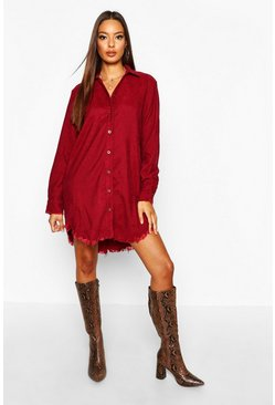 Distressed Baby Cord Shirt Dress, Burgundy, Donna