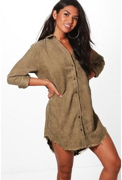 Khaki Distressed Baby Cord Shirt Dress