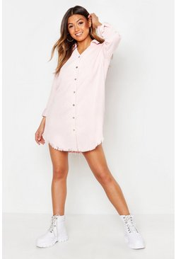 Distressed Baby Cord Shirt Dress, Powder pink, Donna