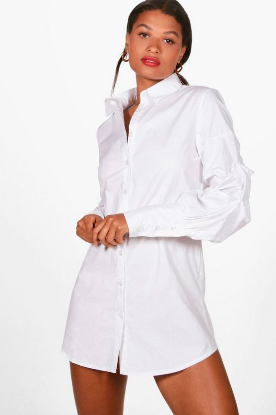 Ruched Sleeve Shirt Dress