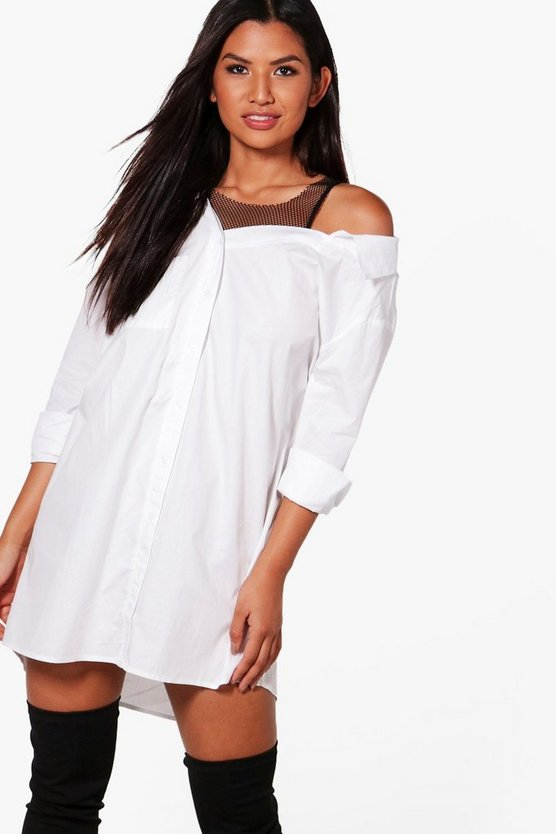 Jess 2 In 2 Mesh Off Shoulder Shirt Dress