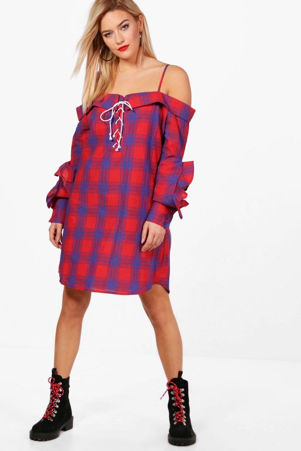 c4ac9c9739 Check Lace Up Ruffle Shirt Dress