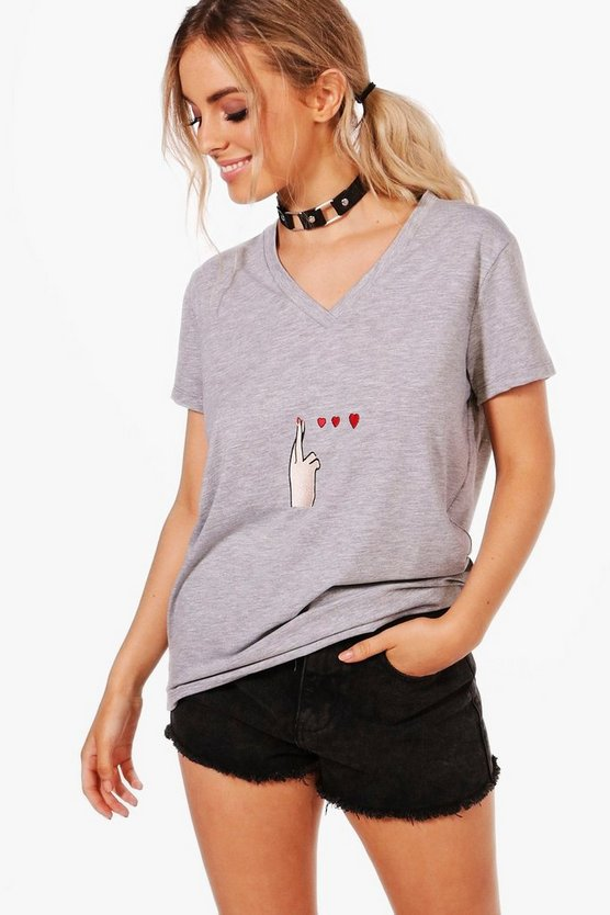 Cora Embroidered Hand T-Shirt