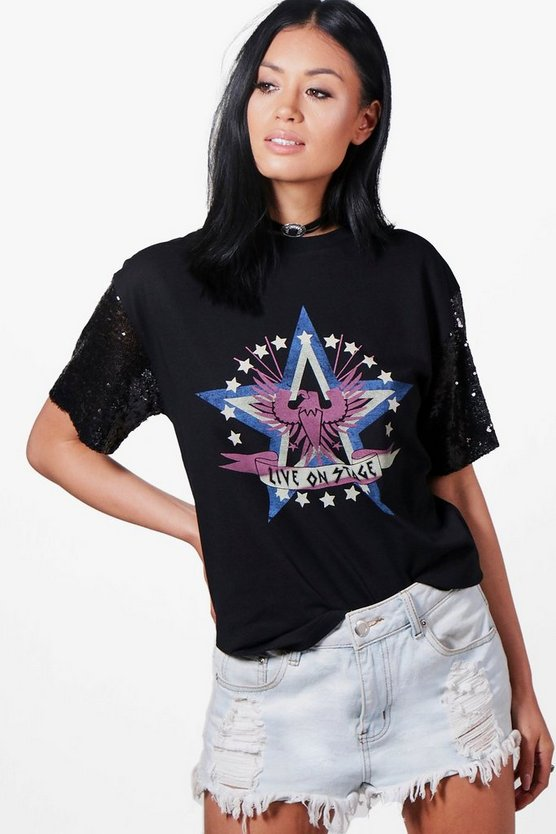 Keira Oversized Sequin Sleeve T-Shirt