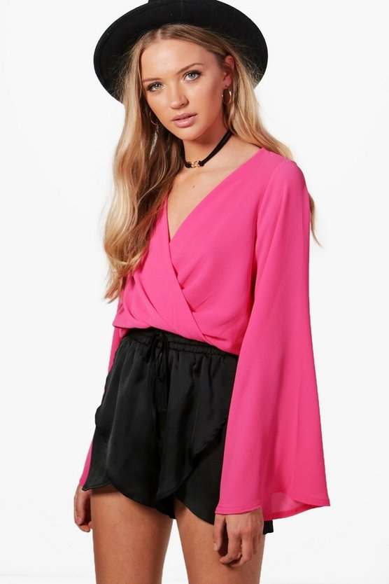 Flare Sleeve Wrap Woven Crop Top