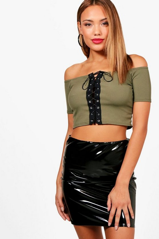 Lily Lace Up Rib Crop Top