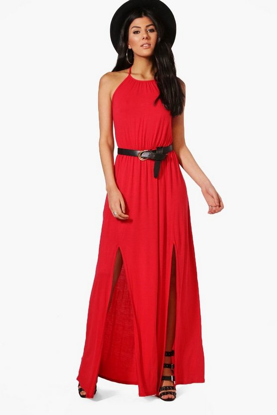 High Neck Split Front Maxi Dress