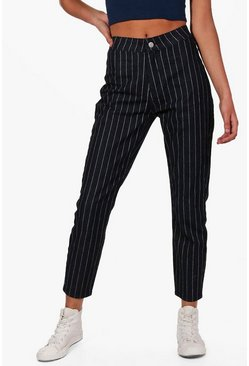 Womens Black High Rise Stripe Skinny Tube Jeans