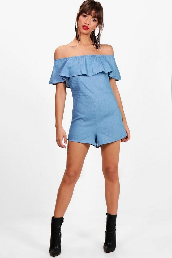 Bardot Frill Chambray Playsuit