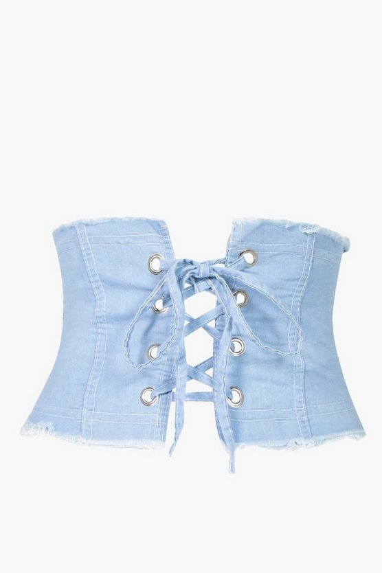 Daisy Eyelet Denim Corset Belt
