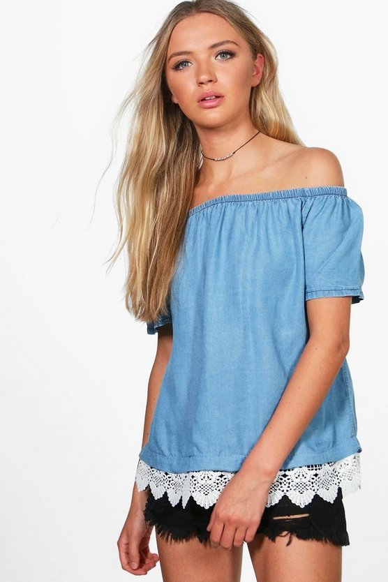 Mary Off The Shoulder Crochet Hem Denim Top