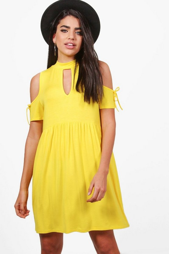 Louisa Choker Cold Shoulder Smock Dress