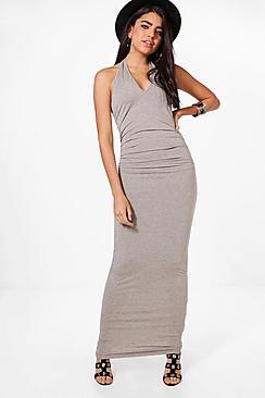 Kayleigh V Neck Halter Ruched Waist Maxi Dress