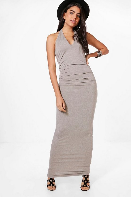 Kayleigh V Neck Halter Ruched Waist Maxi Dress