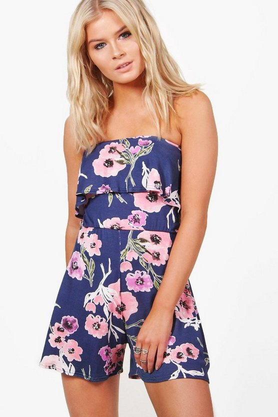 Womens Navy Floral Bardot Jersey Playsuit