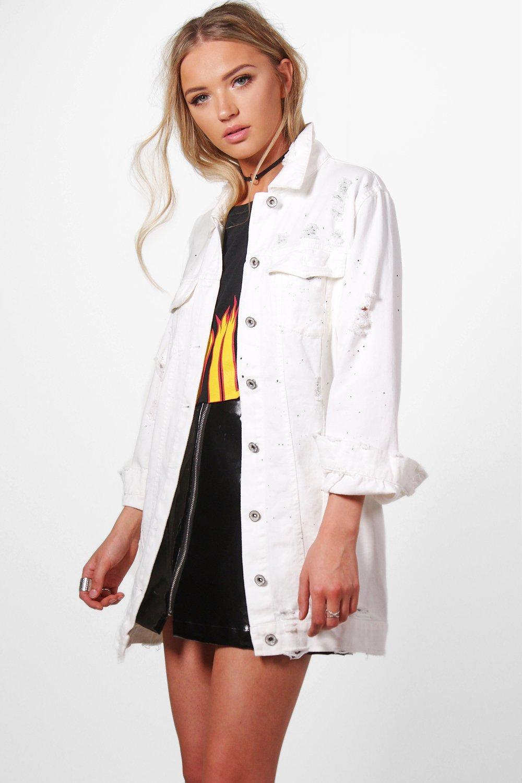 prix de gros profiter du meilleur prix produits chauds jilly veste en jean longue tache de peinture