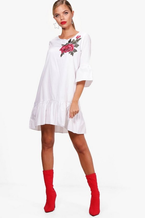 Embroidered Frill Hem Woven Shift Dress