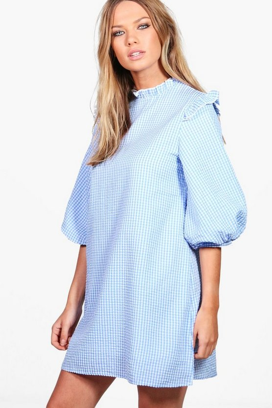 Gingham Puff Sleeve Woven Shift Dress