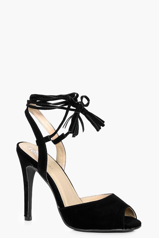 34239528ebe2 Hannah Peeptoe Wrap Strap Detail Heels. Hover to zoom