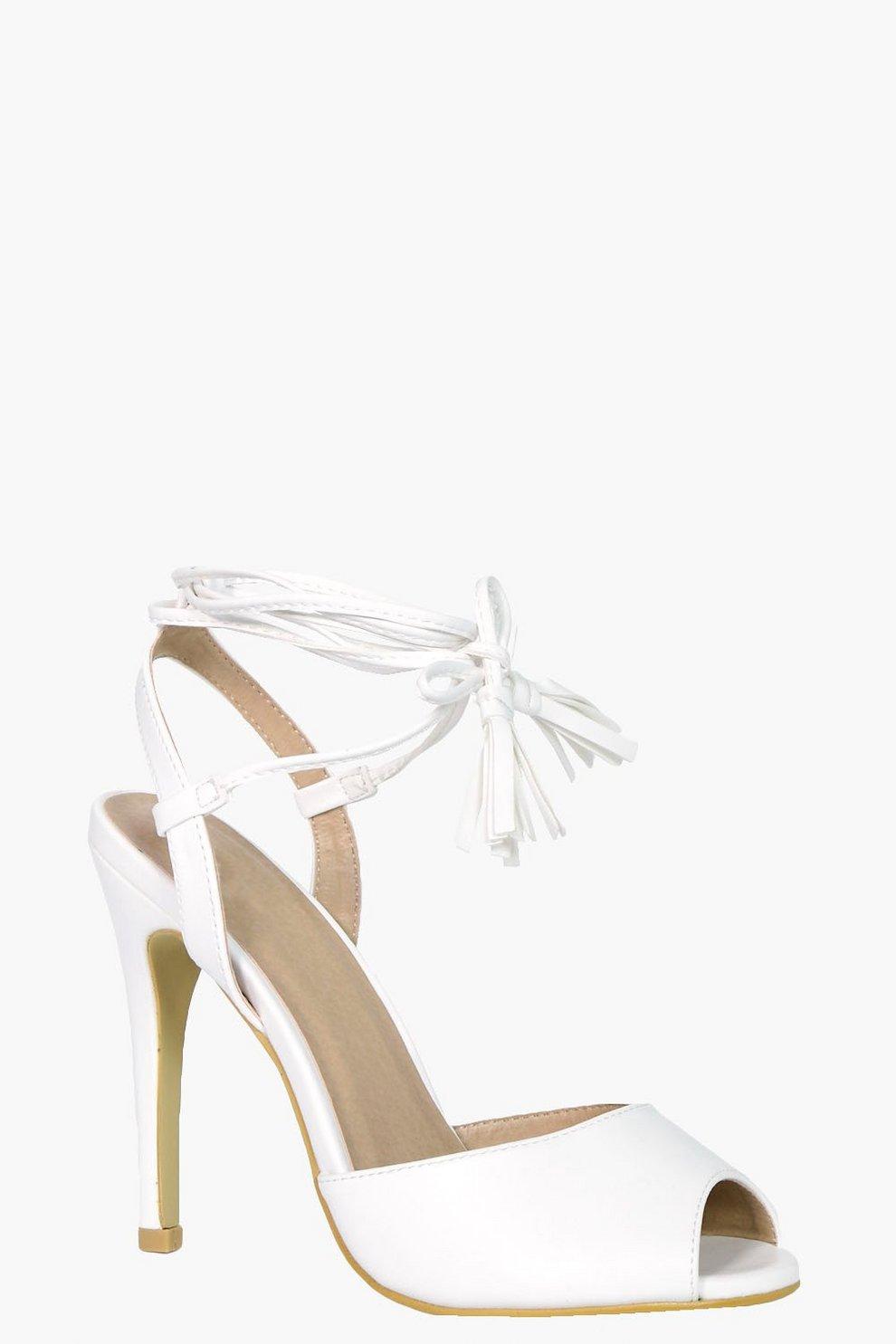 649e43f93fd1 Womens White Ellie Peeptoe Wrap Strap Detail Heels. Hover to zoom