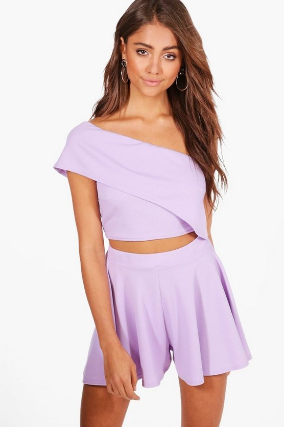 Fi One Shoulder Crop& Flippy Short Co-ord