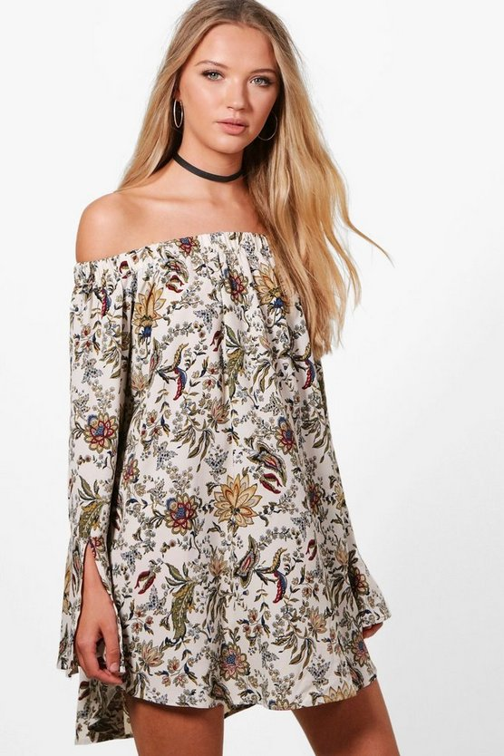 Annabel Off The Shoulder Paisley Flute Sleeve Shift Dress
