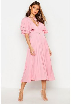 Womens Antique rose Ruffle Angel Sleeve Bolo Tie Midi Dress