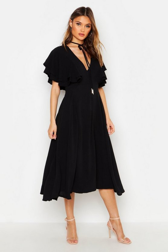 Womens Black Ruffle Angel Sleeve Bolo Tie Midi Dress
