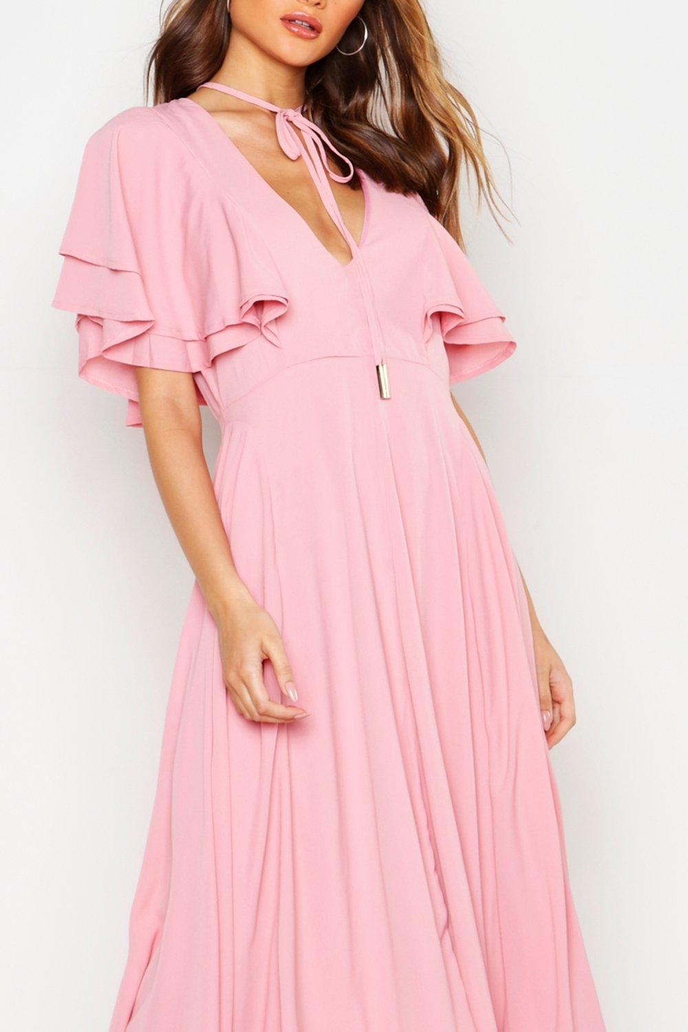 Boohoo Womens Freyja Ruffle Angel Sleeve Bolo Tie Midi Dress in 10 ... 189cfccbf