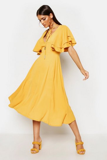 Womens Mustard Ruffle Angel Sleeve Bolo Tie Midi Dress