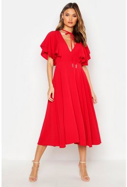 Ruffle Angel Sleeve Bolo Tie Midi Dress, Red, Donna