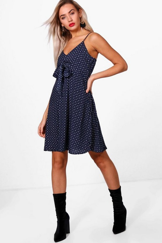 Georgia Tie Front Skater Dress