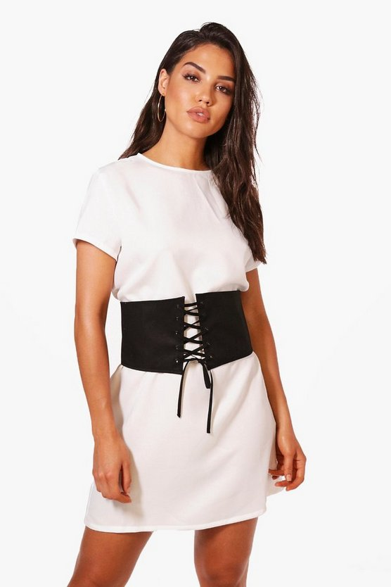 Tanya Cap Sleeve Belted Shift Dress