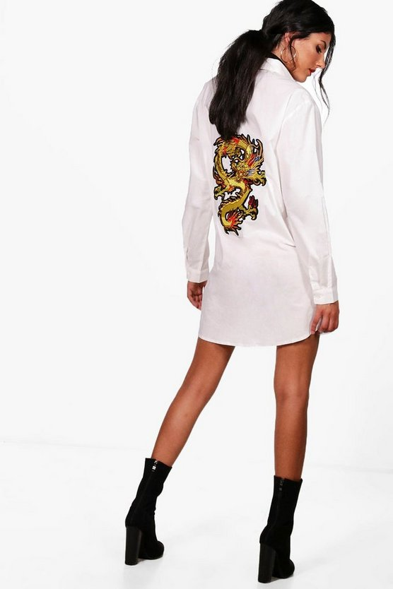 Oversized Dragon Embroidered Shirt Dress