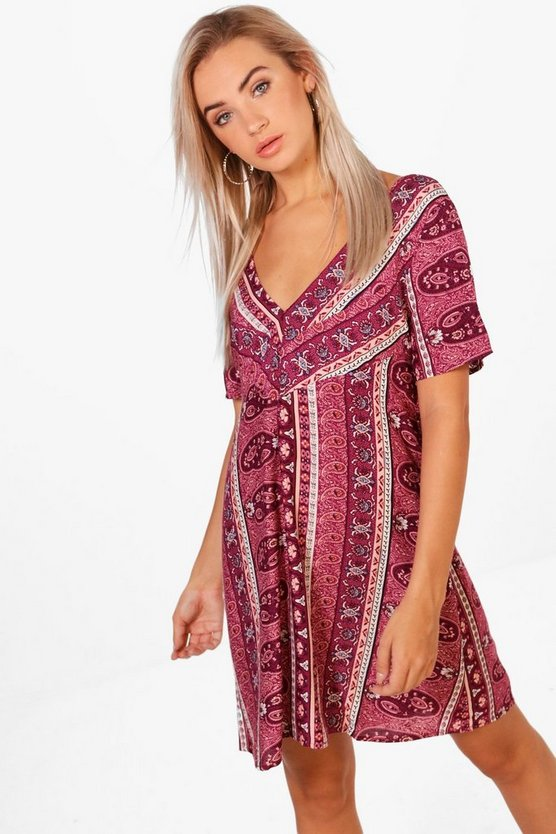 V Neck Paisley Shift Dress