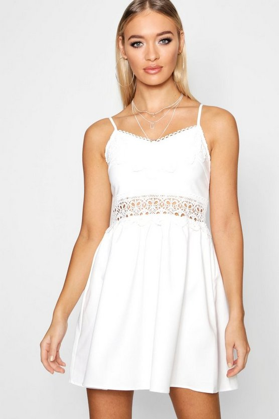 Womens White Embroidered Shift Dress