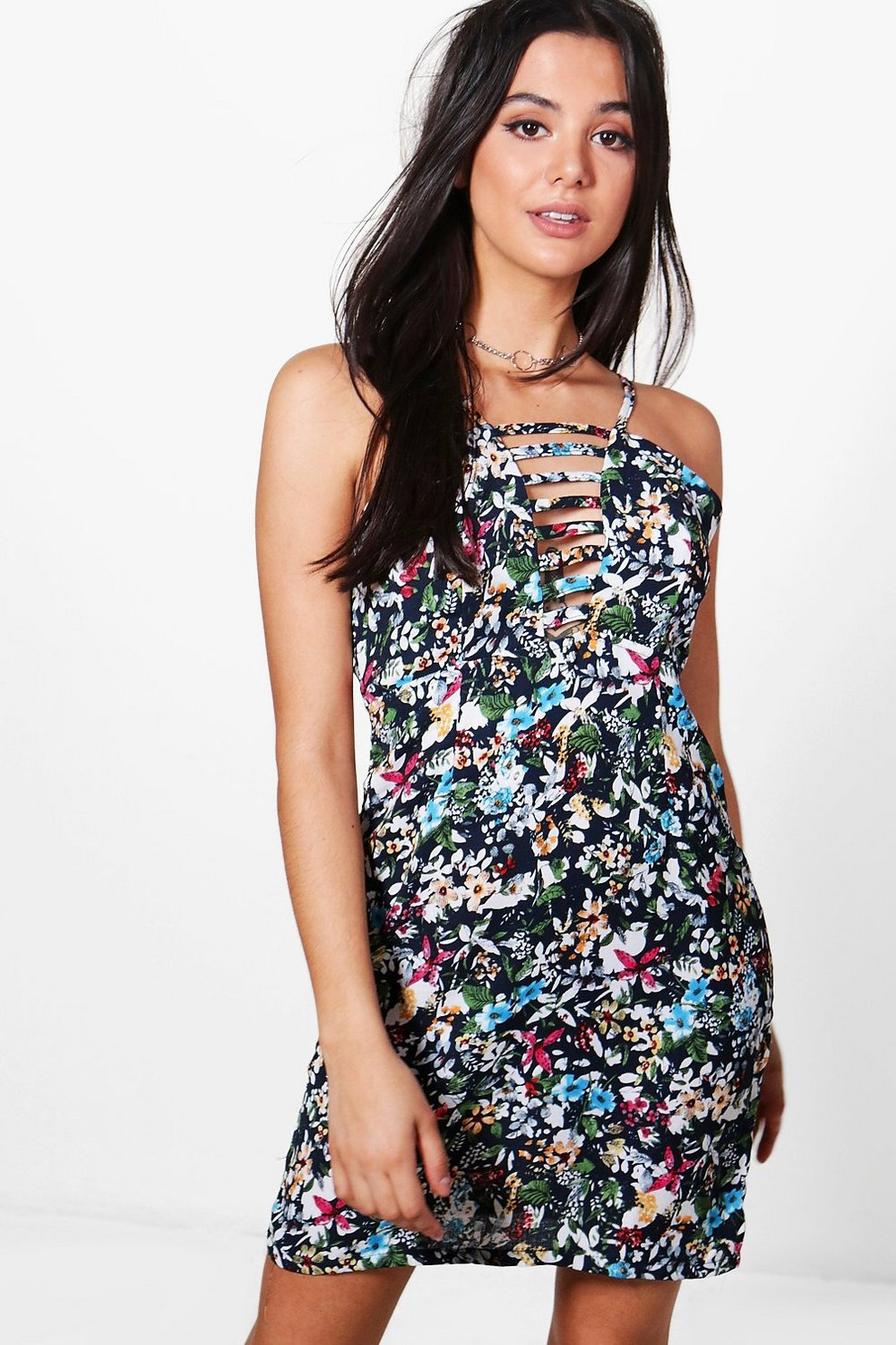 565369ccc523 Julia Floral Strappy Swing Dress