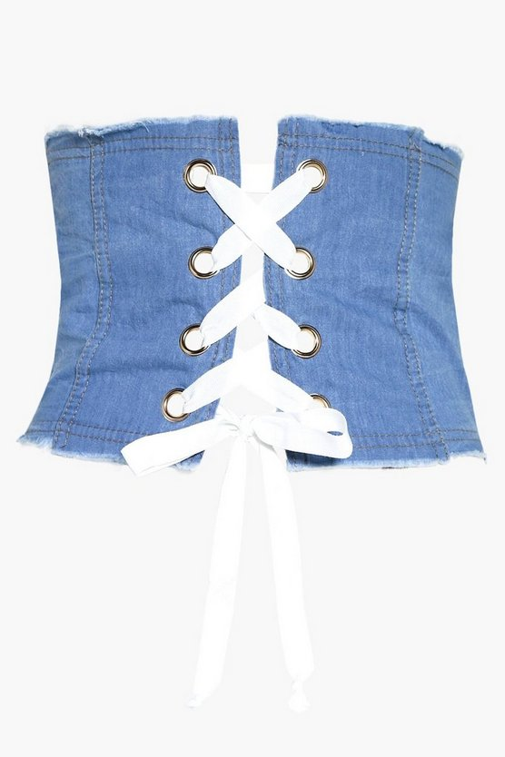 Womens Blue Lena Denim Corset Belt