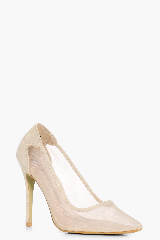 30953421b77 Martha Pointed Toe Mesh Court Heels | Boohoo