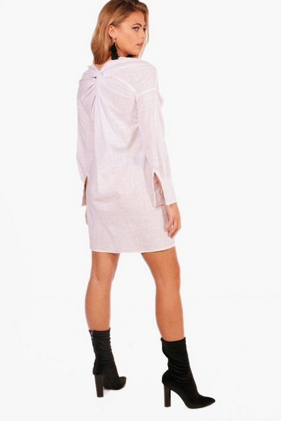Off The Shoulder Knot Back Shirt Dress