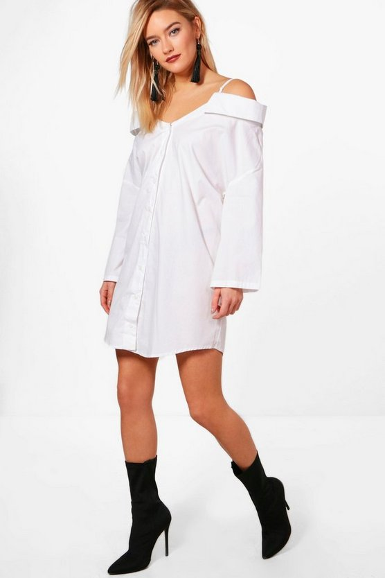 Off The Shoulder Strappy Split Sleeve Shirt Dress