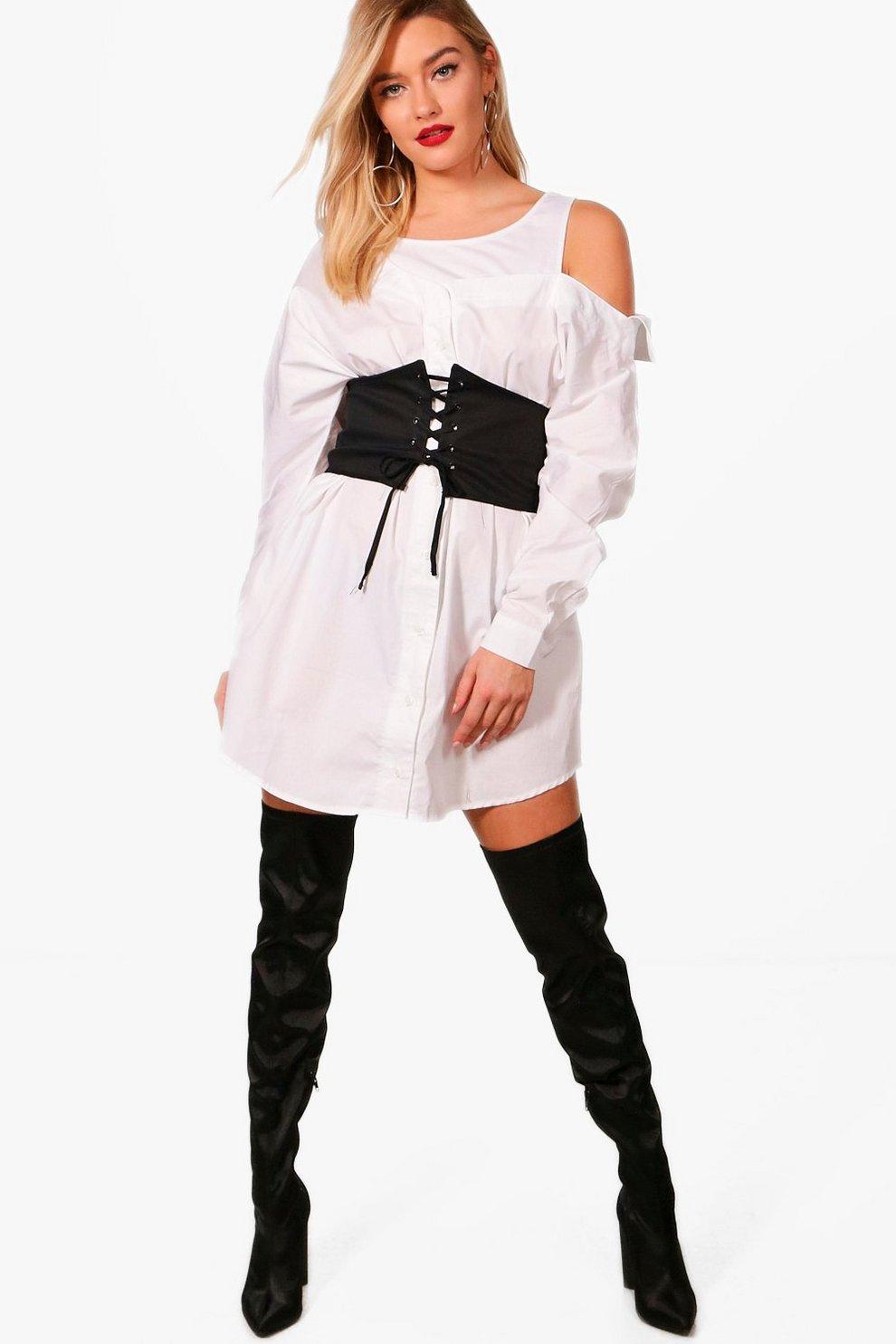 8ff712f321 Off The Shoulder Corset Belt Shirt Dress